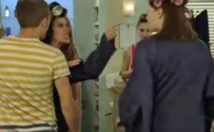 David pushing Tracy and Michelle toward salon door
