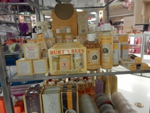 Burt's Bees display in Sears cosmetic section