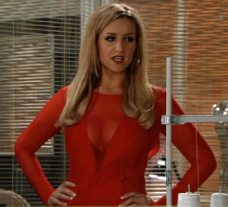 Eva in red dress at factory