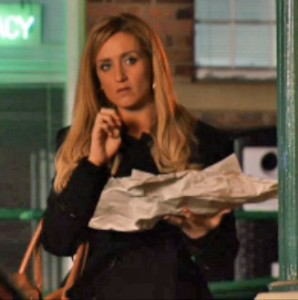 Eva eats chips and watches Nick and Leanne