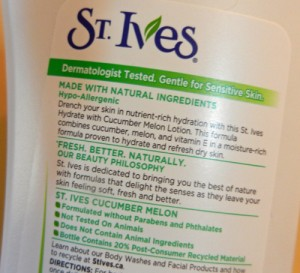 St. Ives lotion no animal testing label