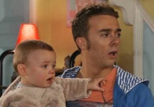 David prat left unwillingly holding the baby