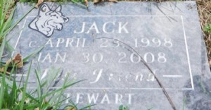 Jack-grave-stone at Sandy Ridge cemetery for animals