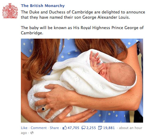 FB-Monarchy-post about Prince George