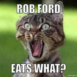 The-Bullpen-94.5-facebook meme of shocked cat, Rob Ford eats what?
