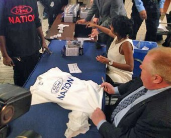 Rob Ford at Ford Nation t-shirt booth
