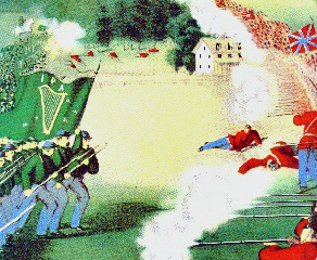 Battle of Ridgeway illustration, showing IRA flag
