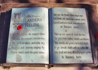 First World War monument with In-Flanders-Fields