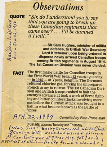 First World War London Free Press 1997 re 2nd Battle of Ypres