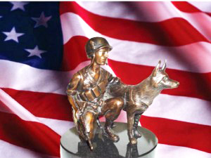 US flag and scale model of war dog statue for NJ