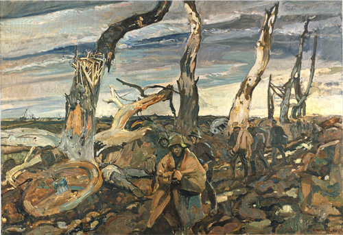 World War I painting by Frederick_Varley_German_Prisoners-1920