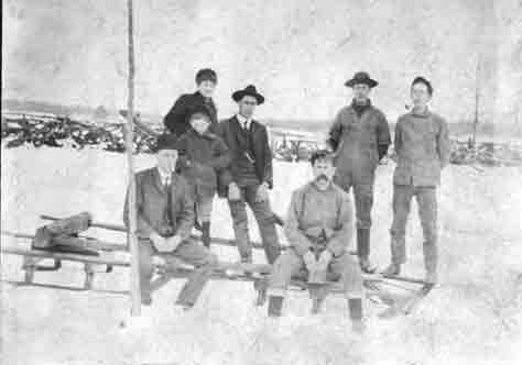 charlie-peter-wilson-burwell and others on sleigh in-snow