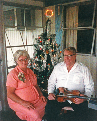 mable and pat walters by xmas tree
