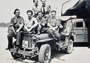 VE Day post, soldiers on Jeep at Camp Borden England 1944