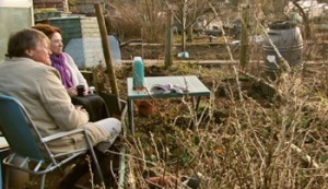 roy and cathy enjoy peace and quiet of allotment