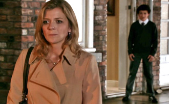 Leanne taking leave, as Simon watches