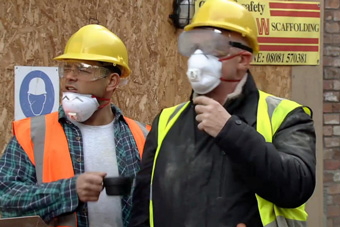 construction work - jason and phelan with mask