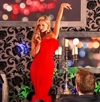 eva-strikes-pose for karaoke