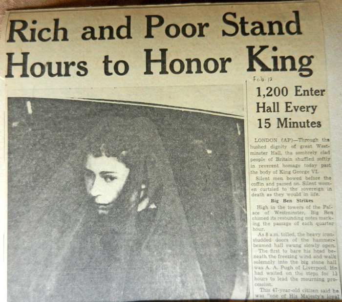 George VI death headline and new queen in mourning