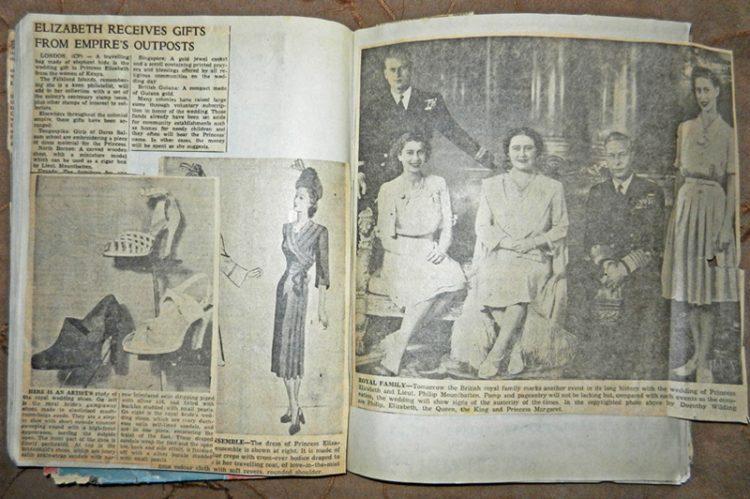 wedding 1947 Elizabeth and Philip scrapbook page