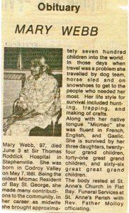 midwife mary webb obit