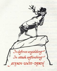 """In defence unyielding, in attack unflinching, steady unto death"" caribou monument image p 130 Book of Remembrance"