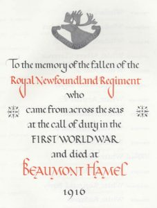 "nf-book-of-remembrance ""to the memory of the fallen of the RNR who ... died at Beaumont Hamel 1916"""