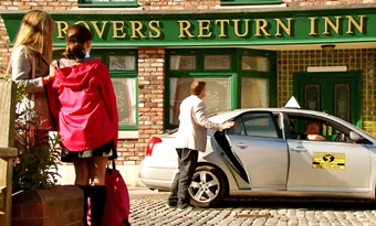maria and amy watch as steve opens cab door for michelle in front of rovers