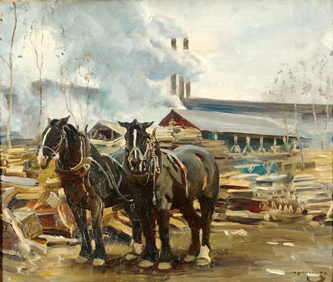 alfred-j-munnings-draft-horses-lumber-mill-in-the-forest-of-dreux-leicestergalleries-com