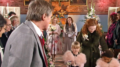 roy watches cathy walk down aisle