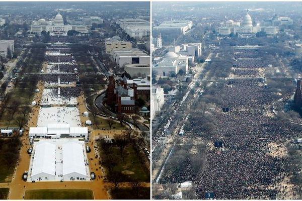inauguration crowds 2017 left, 2009 right wikipedia