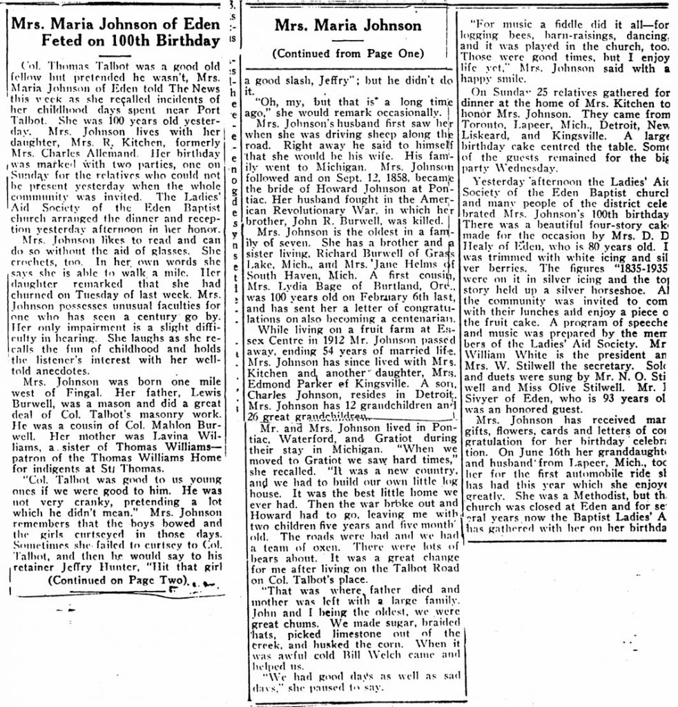 Maria Johnson of Eden feted Jun 1935 clipping