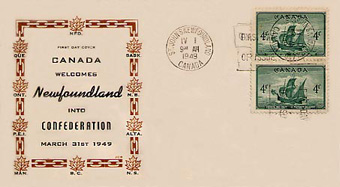 Canada-welcomes-Newfoundland first day cover postcard