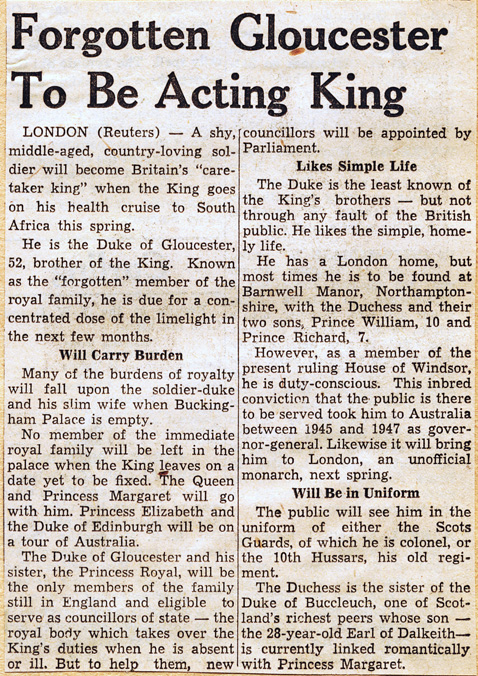 forgotten gloucester to be acting king