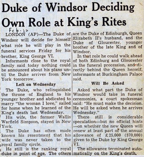 Duke of windsor deciding own role at king's rites