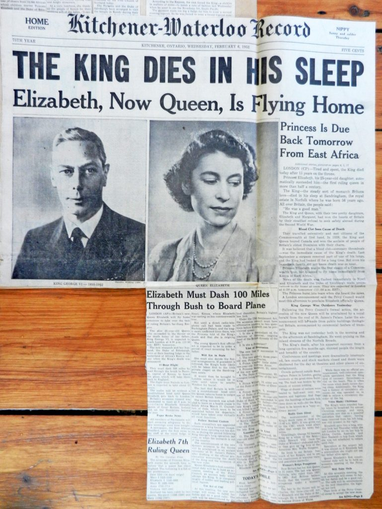 King George VI death front page Kitchener-Waterloo Record