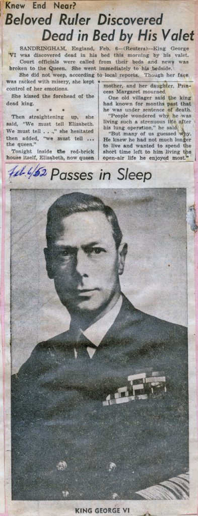 George VI Passes in sleep