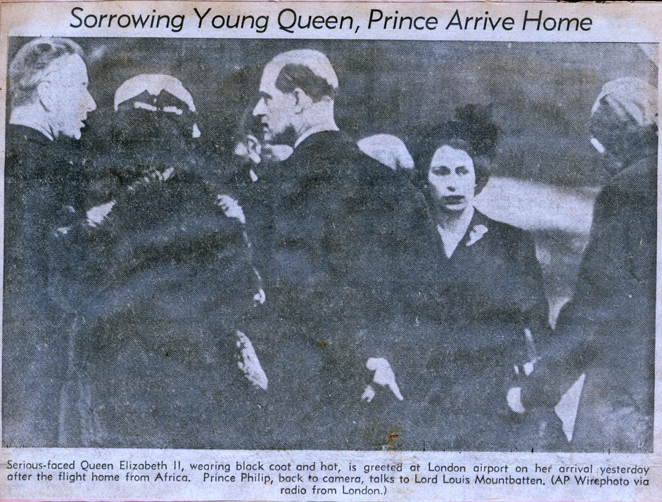 Sorrowing young queen, prince arrive home