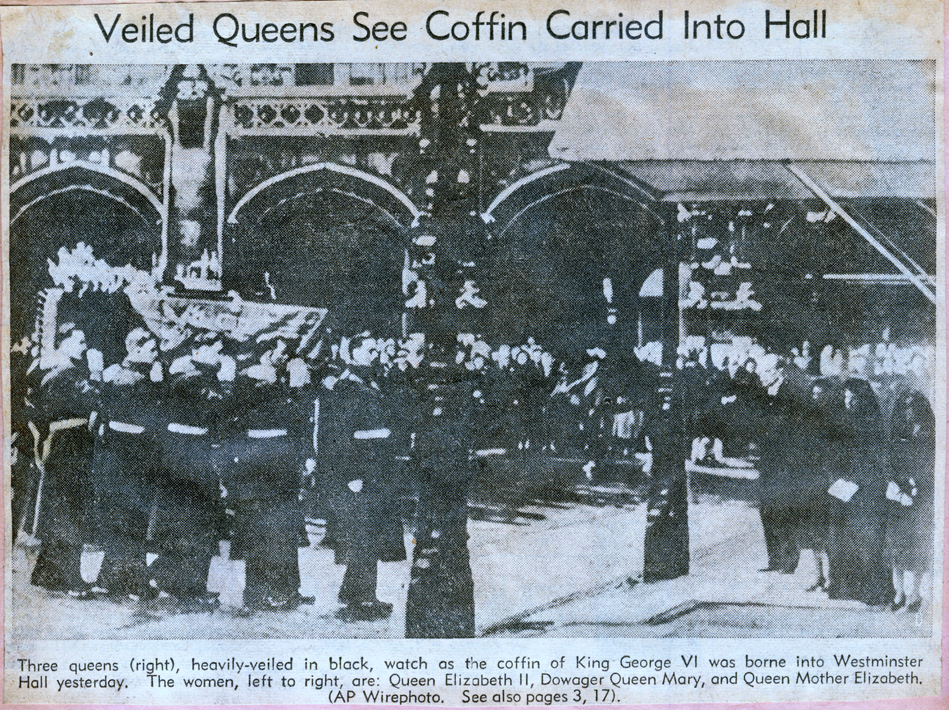 Veiled queens see coffin carried into hall