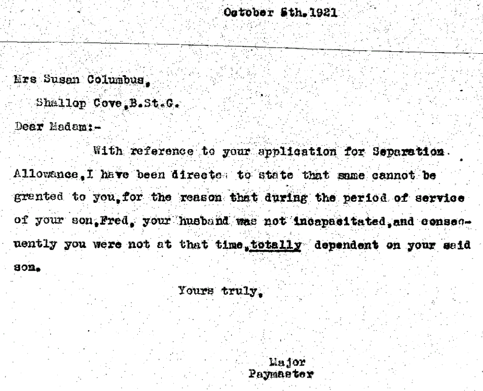 rnr major paymaster reply oct 1921