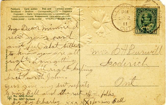 Tillsonburg card message D Stewart postcards coll.