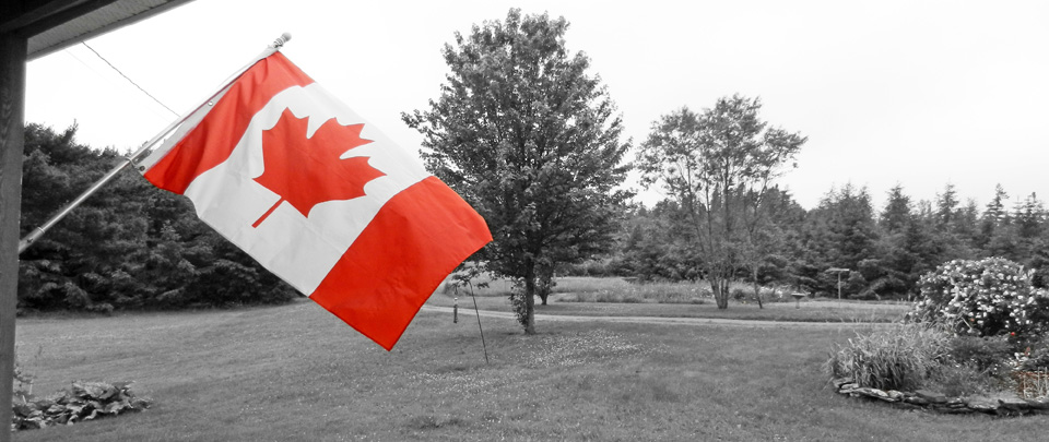 Canadian flag on porch for Canadian songs