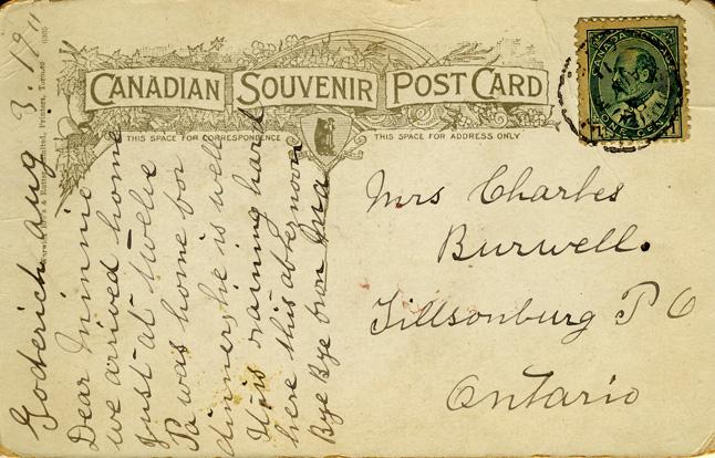 elevator card message D Stewart postcards coll.