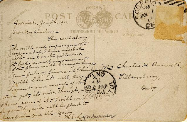 goderich harbour card message D Stewart postcards coll.