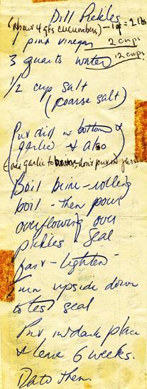 handwritten dill pickles recipe photo d stewart