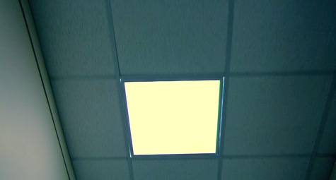hospital corridor - ceiling and light panels