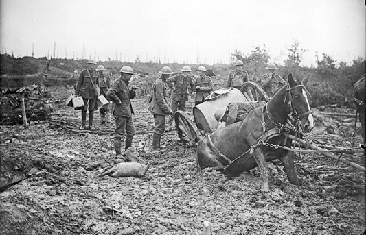 Passchendaele Battle-of-Pilckem-Ridge-brushwood-track-St-Eloi-11-Aug-1917-John-Warwick-Brooke-imperial-war-mus_Q5944