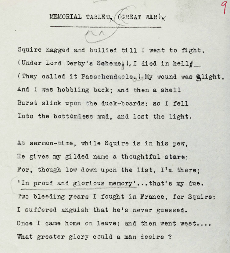Cambridge U Library The Siegfried Sassoon Literary Estate via First World War Poetry Digital Archive http://ww1lit.nsms.ox.ac.uk/ww1lit/collections/item/9660