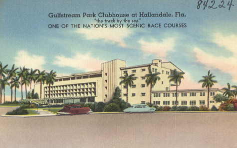 Gulfstream_Park_Clubhouse_at_Hallandale_Fla. 1930s postcard