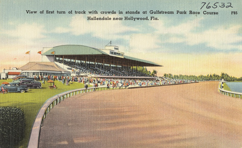 View_of_first_turn_of_track_with_crowds_in_stands_at_Gulfstream postcard
